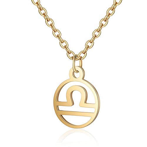 QUWE Stone Necklace,Elegant 12 Constellation Libra Pendant Golden Sparkling Long Chain Men Women Energy Balance Birthstone Gem Jewelry Gifts