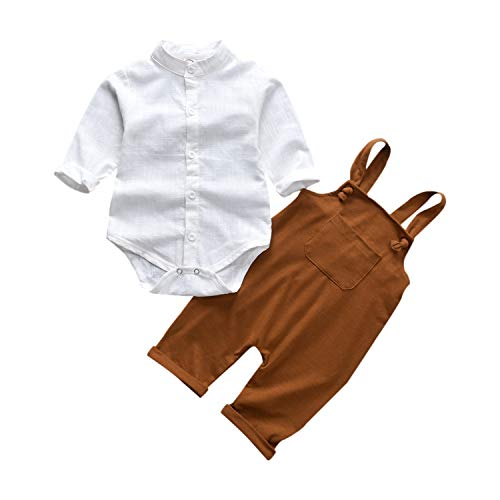 Unutiylo Baby Boys Clothes for Gentleman Outfits,Toddler Overalls Baby Suspender Pants and Bodysuit Romper