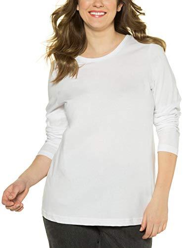 Ulla Popken Basic Langarmshirt Rundhals, Camiseta de Manga Larga para Mujer, Blanco (Weiss 20), 54