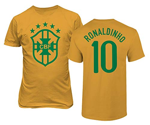 Tcamp Soccer Legends #10 Ronaldinho Jersey Style Men's T-Shirt (Gold, XX-Large)