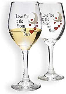 BANBERRY DESIGNS - Set of 2 Wine Glasses - I Love You to the Moon and Back Design with Red Hearts - 14 oz