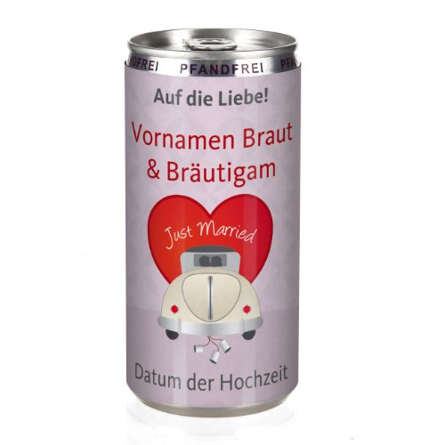 Herz & Heim® City Secco in der Dose - Just Married - mit Wunschnamen 200 ml als Gastgeschenk zur...