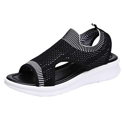 Damen Sandalen Plateauschuhe mit Wedge Platform Mesh Slingback Peep Toe Slip On Sommer Outdoor Sandals Freizeitschuhe(2-Schwarz/Black,36)
