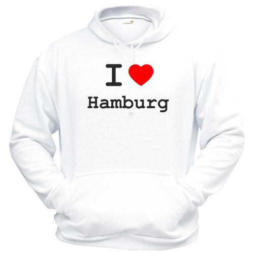getshirts - Best of - Hoodie - Love - I Love Hamburg - Weiss XXL