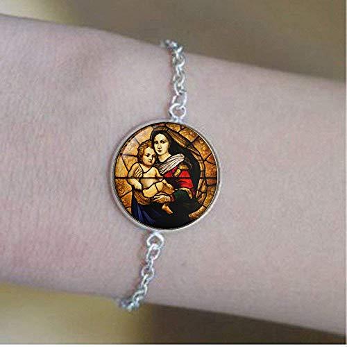 Virgen María y Niño Vidrio, Joyería Cristiana, Regalos Cristianos, Virgen María Pulseras, Bebé Jesús Joyería