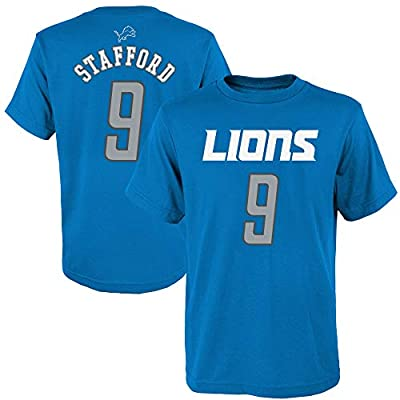 OuterStuff Matthew Stafford Detroit Lions NFL Boys Youth 8-20 Blue Mainliner Official Player Name & Number T-Shirt (Youth Large 14-16)