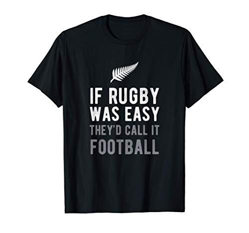 Funny New Zealand Rugby NZ Silver Fern Football Gift Maglietta