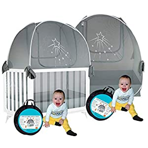 Aussie Cot Net Baby Crib Safety Tents Twin 2 Silver Star Crib Tents to Keep Baby from Climbing Out – See-Through Silver Crib Mosquito Netting – Crib Tent to Keep Baby in