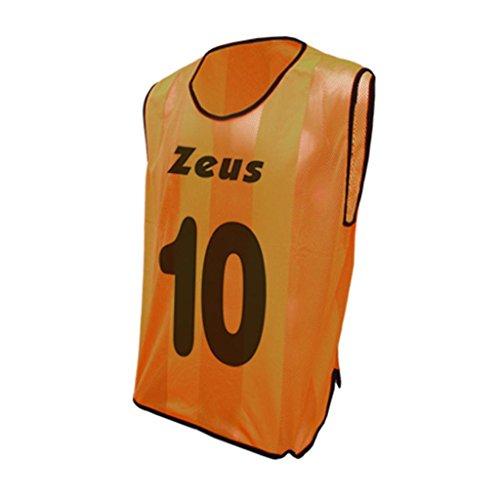 Casacca Promo Numerata Zeus Corsa Sport Uomo Running jogging Allenamento Calcio Calcetto Training Line Torneo Scuola Sport Pacco Da 10 Casacche Numerazione Da 2 a 11 (ARANCIO FLUO)