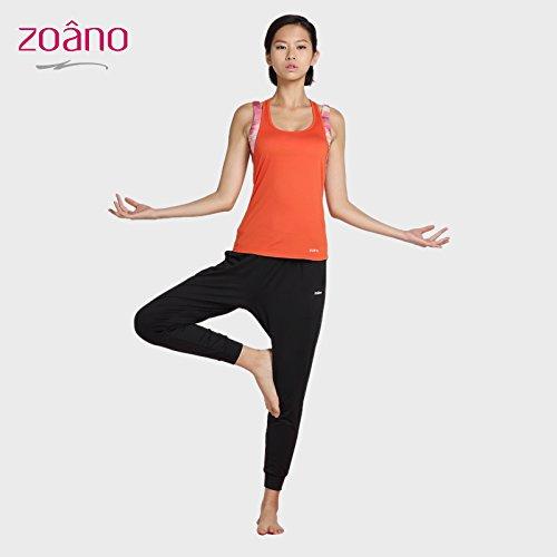 Qsheulx zomer-yoga-jurk, twee dames, sportjack, nauwsluitend, ochtendbestendig, maat XL, oranje/zwart