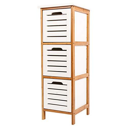 ZRI Bamboo Schubladenschrank Korb Kommode WC Schrank Regal Beistellschrank Badregal Holz mit 3 Schubladen 86x30x32cm Weiß