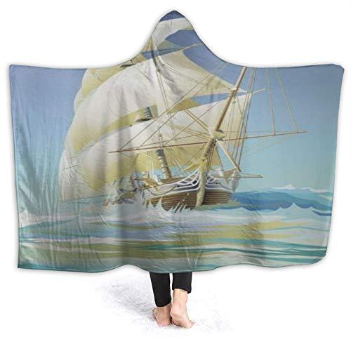 HATESAH Tragbare Hoodie Decke,Pirate Boat Print Standard,Umhang Druck Grafik warm...