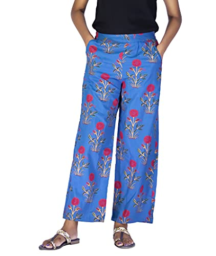OUTFIT BY ABM || Women Palazzo || Ethnic Print with Pocket Blue Palazzo Pant (S)