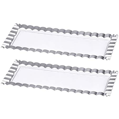 Plasticpro Plastic Serving Trays - Wave Designed Serving Platters Rectangle 6 X 14 Disposable Party Dish Clear Silver Extra Heavy Duty Loaf Tray Pack of 2