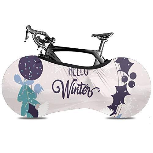 Rainbow Galaxy Unicornios Portátil Cubierta de Bicicleta Cubierta de Interior Anti Polvo Alta Elástica Cubierta de Rueda de Bicicleta Protector Rip Stop Neumático Carretera MTB Bolsa de Almacenamiento, HELLO Invierno, talla única