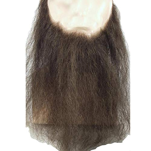 """10"""" Long Full Face Beard Color Light Chestnut Brown - Lacey Wigs Human Hair Mens Duck Dynasty Hand-Made Fake Facial Biker Amish Bundle with MaxWigs Hairloss Booklet"""