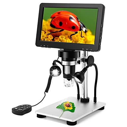 7 inch LCD Digital Microscope + 32GB TF Card, Elikliv Handheld USB 1200X Magnification 1080P Video Microscope Camera for Adults Soldering Error Coins Kids Outside Use, PC View, Windows/Mac Compatible