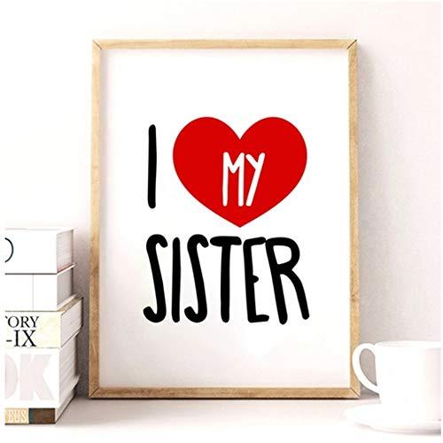 XIANGPEIFBH Kunstwerk Ich Liebe Meine Schwester Leinwand Poster Niedlich Kunstdruck Bild für Zwillingszimmer Mädchenzimmer Moderne Wanddekoration-50x70cm Kein Rahmen