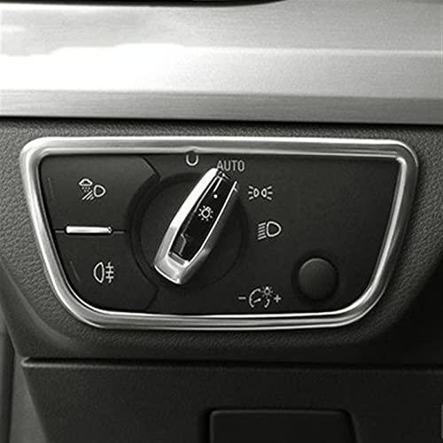 MJJD Adornos Cubierta para Audi A3 8V S3 A4 B8 B9 A5 A6 C7 Q5 Q7 Interruptor De Faro De Acero Inoxidable Cubiertas Decorativas Pegatinas Accesorios Interiores Accesorios Decorativos Coche