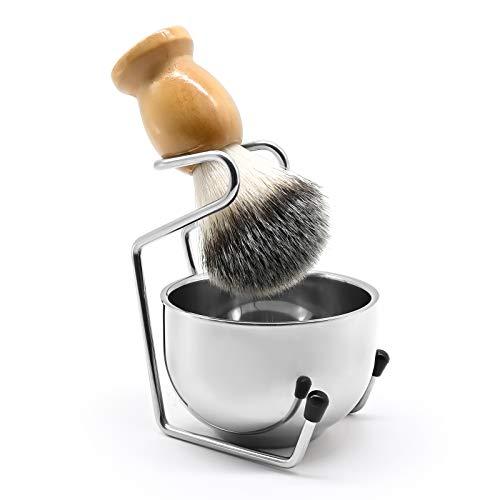Kit de rasage pour homme - Support universel pour blaireau de rasage en acier inoxydable lourd avec bol de rasage - pour placer le rasoir manuel, les lames, le blaireau de rasage (Argent)