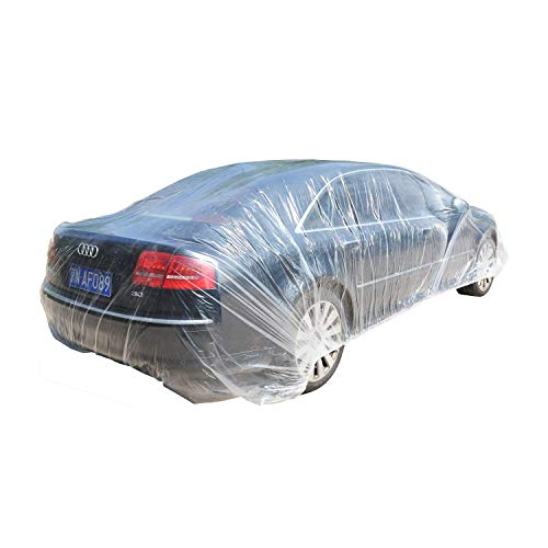 TopSoon Clear Plastic Car Cover with Elastic Band Disposable Car Cover Plastic Auto Cover Waterproof Universal Fit 22-Feet by 12-Feet