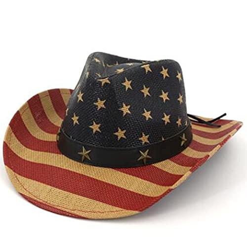 Retro Western Cowboy Hat Summer Prairie Straw Hat Unisex Paper Straw Hat Sailor Dance American Flag (Color : 1, Size : (56-58cm))