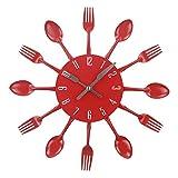 xinxin Reloj de Pared Cubiertos Cocina Silencioso Acero Inoxidable Cubiertos Relojes Cuchillo y Tenedor Cuchara Cocina Decoración para el hogar Rojo