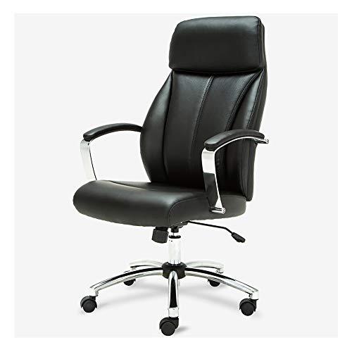 GXYAS Büro Computer Drehstuhl, Home Drehstuhl Liege, Boss Ledersessel Computer Bürostuhl, Home Drehstuhl Ergonomische Rückenlehne Stuhl Schwarz
