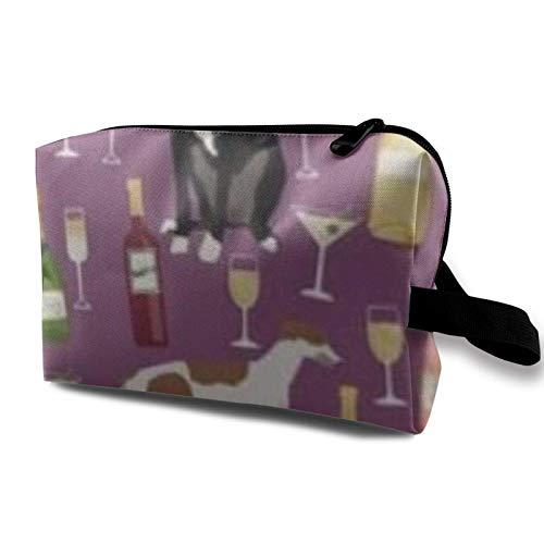 Bolsa de almacenamiento de maquillaje de viaje, bolsa de aseo portátil, pequeña bolsa organizadora de cosméticos para mujeres y hombres, galgos vino