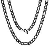 ChainsPro Collar Figaro Regalo Ideal de Precio Rebajado Joyería Dudadera de Acero Inoxidable Negro Oscuro
