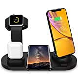 Supporto Caricabatterie Wireless 6 in 1, Caricatore Stand per Apple Watch 4/3/2/1, Qi Wireless Docking Station per Airpods iPhone XS MAX/XR/X/8 Plus/8, Samsung Galaxy e Tutti Qi-enabled Telefoni