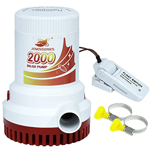 JENENSERIES Submersible Boat 2000GPH Bilge Water Pump 12v DC water pump with float switch suitable for ferry, yacht, marine and garden drainage system