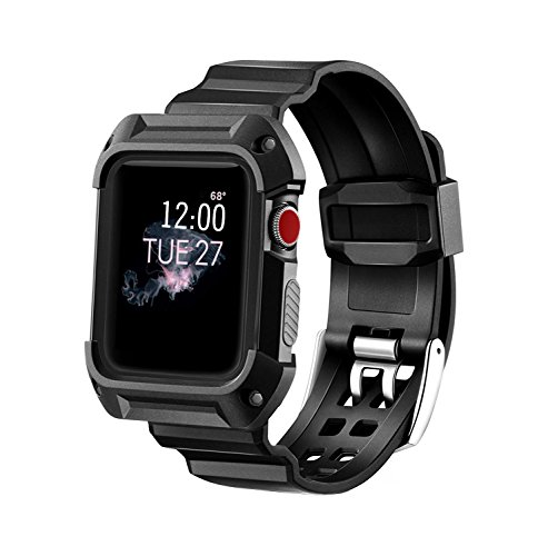 MAIRUI Compatible with Apple Watch Band Case 42mm Wristband Strap Rugged Protective Replacement for Apple Watch Series 3/2/1, iWatch Sport/Edition (Black)