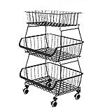 Scaffale portaoggetti in filo metallico a 4 livelli con cestini, organizer per ripiano angolare regolabile per cucina, dispensa, armadio, lavanderia, bagno,Nero,3 tier