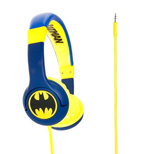 OTL Technologies JUNIOR Kinder Kopfhörer Batman Caped Crusader (gepolsterte Bügel, Lautstärkenbegrenzung auf 85 dB, buntes DC Design, für Jungen und Mädchen) Blau/Gelb