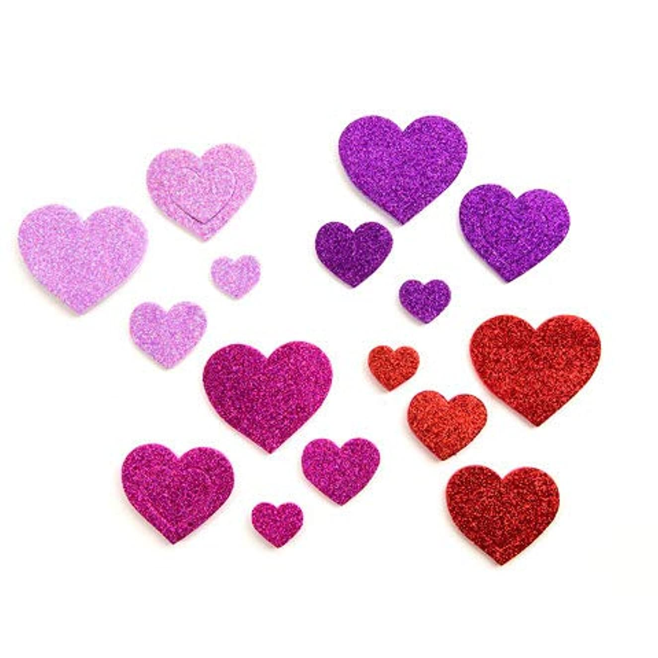 240 Glitter Hearts Peel Off Foam Stickers~Arts & Crafts Supplies