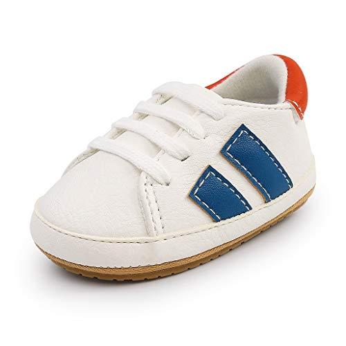 Auxm Zapatos de bebé niño niña primeros pasos zapatillas de deporte recién nacido planas goma antideslizante para 0 – 18 meses, color Azul, talla 19 EU