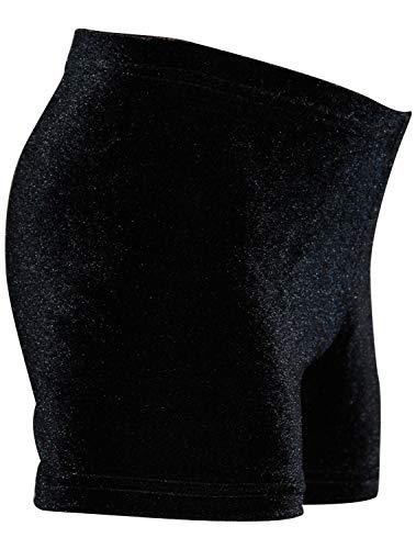 GymStern Mädchen & Damen Shorty elastische Hipster aus Samt od. Lycra in Dunkelblau od. Schwarz Farbe Nicki Samt: Schwarz, Größe 116