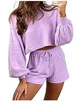 Nicellyer Women's 2 Piece Crop Pure Color Long-Sleeve Crop Top+Shorts Set Purple L
