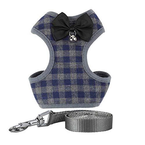 UUME Plaid Dog Harness and Leash Set Reflective Nylon Pet Supplies Soft Mesh Dog Vest Cat Collar Leash Dog Harness(L Blue)