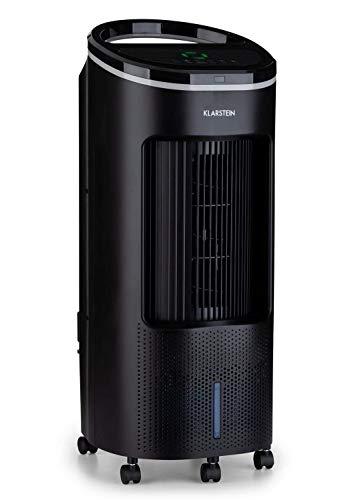 KLARSTEIN IceWind Plus - Rafraîchisseur d'air, Ventilateur, Humidificateur d'air, 4 Vitesses, 330m³/h, Réservoir d'eau de 7 litres, 2 x Pack réfrigérant, Télécommande, Minuterie - Noir