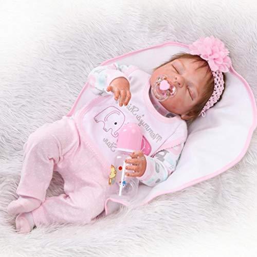 ZIYIUI 23 Pulgadas 57cm Realista Reborn Bebé Muñecas bebé Reborn niña Cuerpo Silicona Renacer Recién Nacido Dormido Niña Regalo de cumpleaños Juguetes para Mayores de 3 años