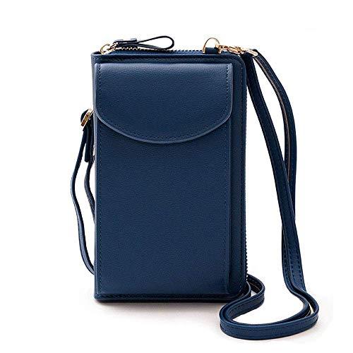 Bolso para teléfono celular, bolso cruzado de cuero de la PU pequeño bolso bandolera bolso de hombro bolso embrague bolsillos para el teléfono para las mujeres monedero, color Azul, talla Small