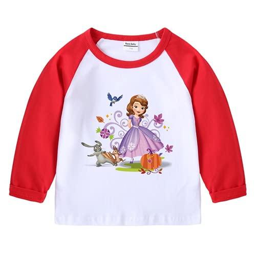 Amacigana Sudadera de manga larga para niña, diseño de princesas, 100 % algodón, cuello redondo, corte fino, para niños de 2 a 8 años, rojo, 100
