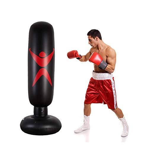 AIMERKUP Boxsack, Aufblasbarer Boxsack Mit Säulen-Kipphebel, Der Ausreichend Schwarzes Dreidimensionales PVC Für Das MMA-Karate-Kung-Fu-Training Verdickt