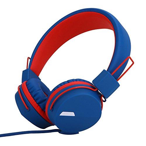 Yomuse F85 Auriculares Plegable on Ear con Cables 1.5 m y micrófono, Ideales para niños/Adolescentes/Adultos (Azul Rojo)