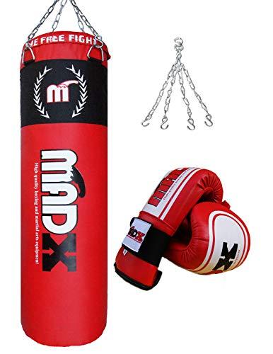 MADX - Set de boxeo (3 piezas, saco de 1,20 m con relleno, g
