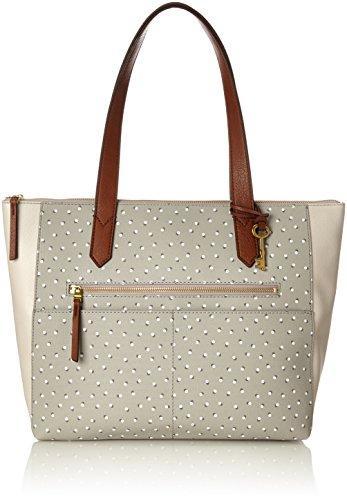 Fossil Damen Damentasche– Fiona Ew Shopper Tote, Grau (Grey/White), 6.99x28.89x41.91 cm