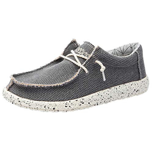 Aoogo Herren Fang Canvas Herrenschuhe atmungsaktiv lässig Fahrschuhe rutschen einfach zu Herren Flache Schuhe weiche große Müßiggänger tragen