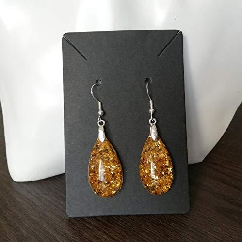 Pendientes de gota de resina hechos a mano, colgantes de joyería para mujer, idea de regalo para niña con brillo dorado